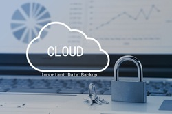 Padlock on PC with cloud pictogram screen