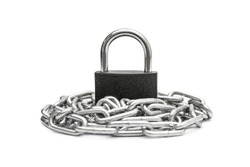 Padlock on pile of metal chain. Isolated on white.