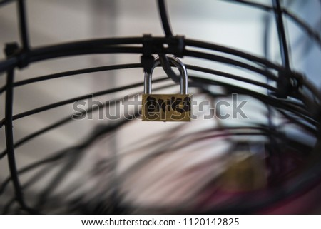 Padlock on wire frame #1120142825