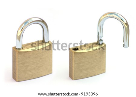 Padlock open and closed detail