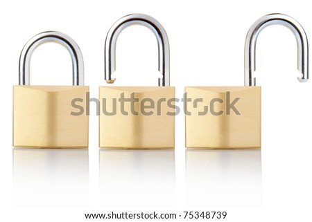 Padlock open and closed set isolated on white, clipping path included