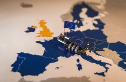 Padlock over EU map, symbolizing the EU General Data Protection Regulation or GDPR. Also suitable for ePivacy or ePR and ETIAS Travel Information and Authorisation or  EU Copyright directives