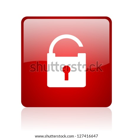 padlock red square glossy web icon on white background
