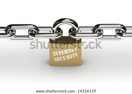 Padlock that symbolizes internet security holding chain safely in place