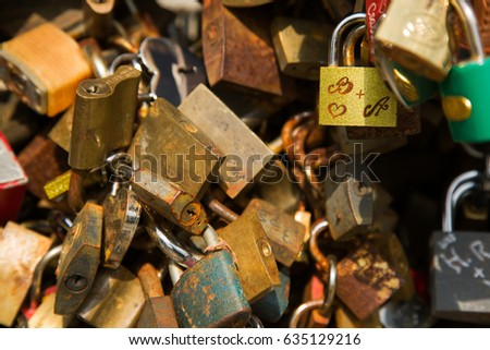 Padlock wall close-up picture, symbols of forever love #635129216