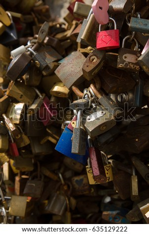 Padlock wall close-up picture, symbols of forever love #635129222