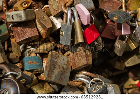 Padlock wall close-up picture, symbols of forever love #635129231