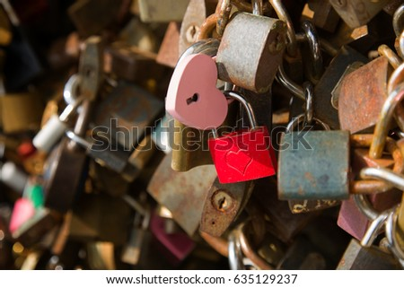 Padlock wall close-up picture, symbols of forever love #635129237