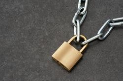 Padlock with chain.