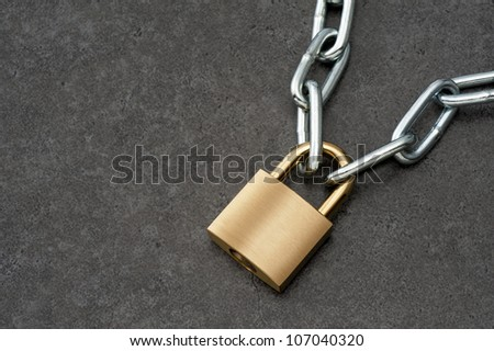 Padlock with chain.
