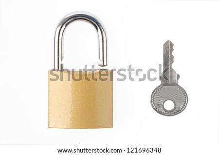 Padlock with key - stock photo