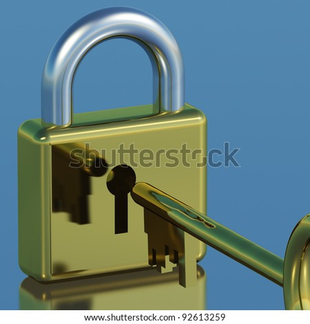 Padlock With Key Showing Security Protection Or Safety