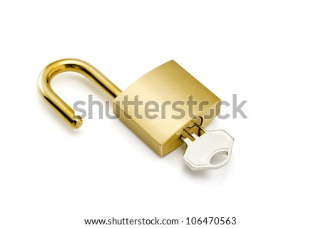 Padlock with keys and chain isolated on white.