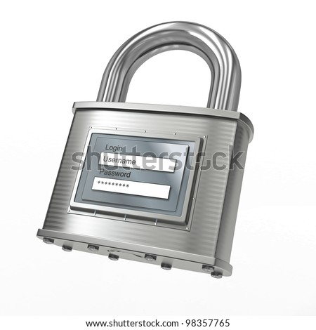 Padlock with login and password on white isolated background. 3d