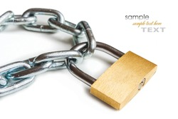 padlock with metal chain on a white background