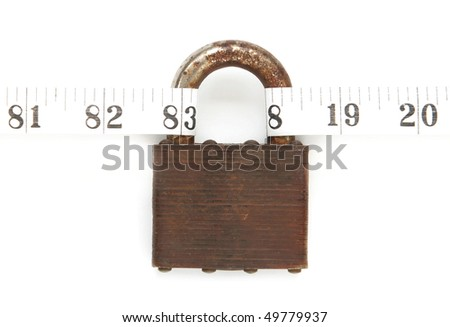 padlock with tape measure - concept of being locked into an unhealthy weight and lifestyle