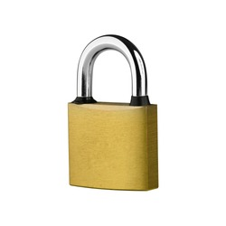 PADLOCK. Yellow metallic padlock on white background. Clipping Path.