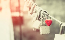 Padlocks of love on the bridge, Retro style