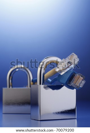 Padlocks with internet cables on the blue background.