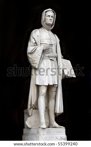Padova,Prato della Valle Square,porch of the Lodge Amulea, ,statue of Giotto ,marble by Vincenzo Vela,1865