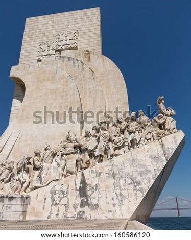 Padrao dos Descobrimentos or Monument to the Discoveries statue and memorial in Belem near Lisbon Portugal. Sculptor was Leopoldo de Almeida