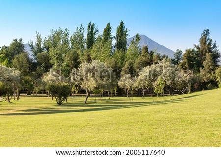 Padre Hurtado Park formerly known as Parque Intercomunal de la Reina at La reina district, Santiago de Chile Foto stock ©
