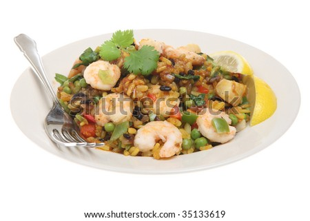 Paella with king prawns and scallops