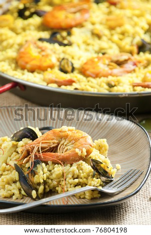 paella with seafood - stock photo