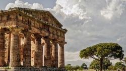 Paestum Italy Beautiful Sky Colums