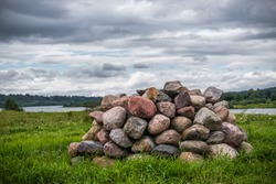 Pagal Altar in Lithuania, Kaunas District, Zapyskis. Cloudy sky in Background.
