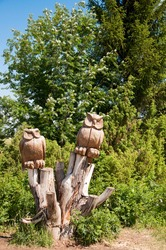 pagan owls. idols carved from wood