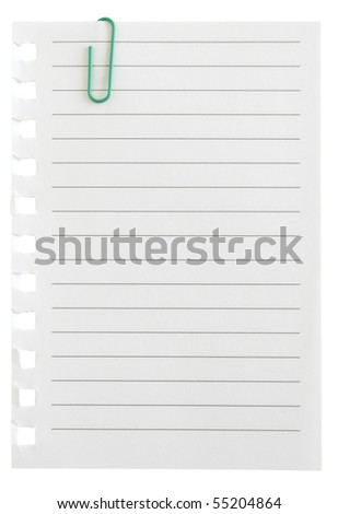 page and clip isolated in white