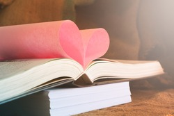Page book in love pink,Concept of Valentine's Day. Vintage Style