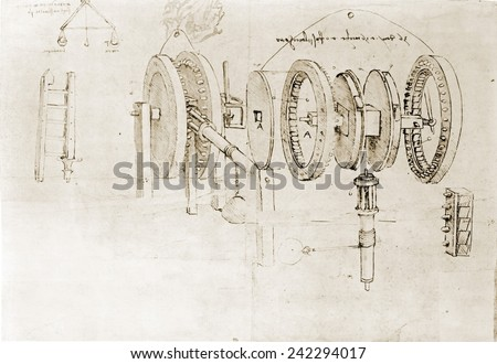 Page from the notebooks of Leonardo da Vinci (1452-1519) showing a geared device disassembled. Ca. 1500. Foto stock ©