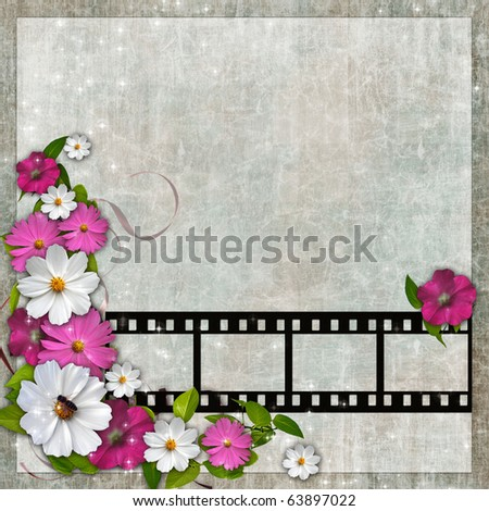 Page layout photo album with flowers and filmstrip - stock photo