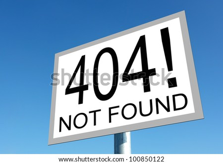 Page not found sign for missing web pages