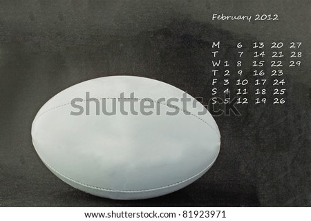 Page of calendar of 2012. Month of February, sport of rugby