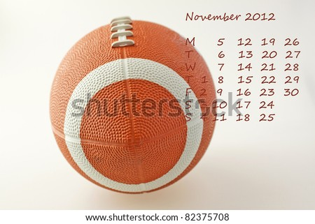 Page of calendar of 2012. Month of November, sport of football