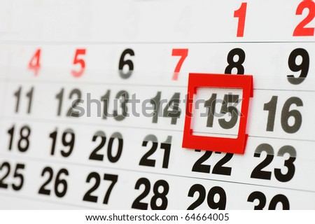 page of calendar showing date of today - stock photo