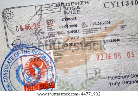Page of passport with Cyprus visa and stamps