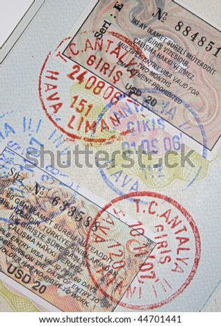 Page of passport with turkish visas and stamps