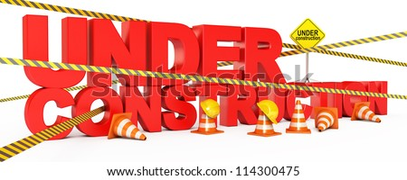 Page under construction. Traffic cones. Road sign. Caution tape. Construction Helmet. Isolated on white background. 3d render