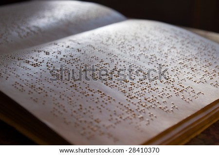 page written in braille alphabet for blind people