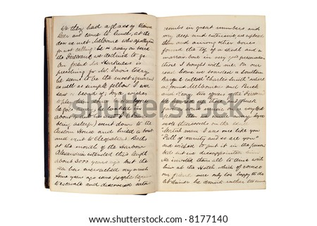 Pages in an antique travel diary of a Mediterranean cruise in 1872 isolated on white