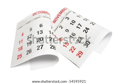 Pages of Calendar on White Background