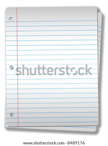 Pages of wide ruled notebook paper on solid gray background  - drop shadow & highlight, isolatated on white, Illustration NOT a photo.