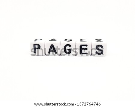 pages pages word built with white cubes and black letters on white background #1372764746
