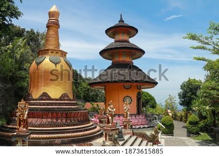 Pagoda at Brahma Vihara Arama temple in Bali. Monastery, Brahma Vihara Arama , Bali, Indonesia Stok fotoğraf ©