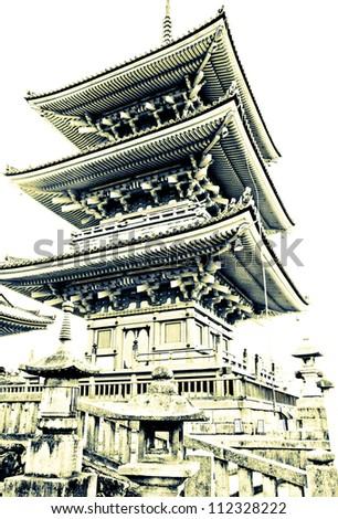 Pagoda at Kiyomizu temple in Kyoto, Japan - stock photo