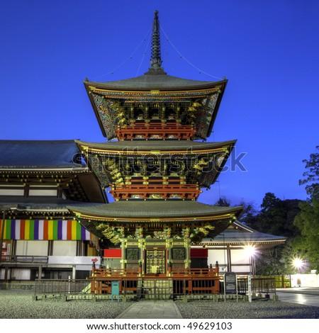 Pagoda at Narita-san Shinsho-ji temple, near Tokyo, Japan (HDR image) - stock photo